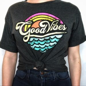 Modern Lux Good Vibes Beachy Gray Graphic Tee